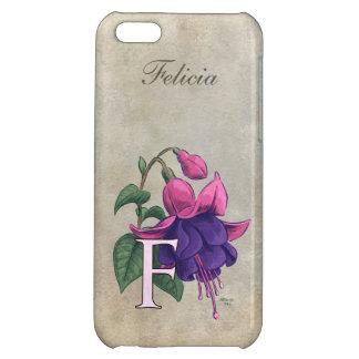 F for Fuchsia Flower Monogram iPhone 5C Cases