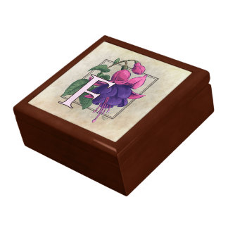 F for Fuchsia Flower Monogram Jewelry Box