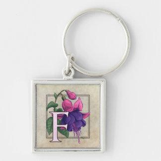 F for Fuchsia Flower Monogram Key Chain