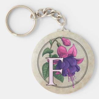 F for Fuchsia Flower Monogram Keychain