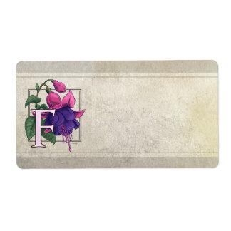 F for Fuchsia Flower Monogram Custom Shipping Label
