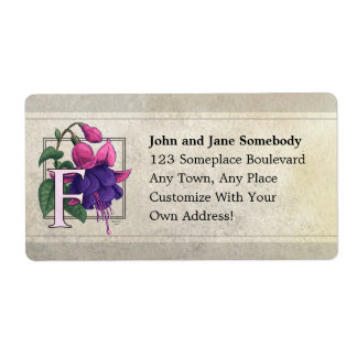 F for Fuchsia Flower Monogram Personalized Shipping Labels