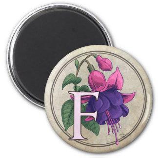 F for Fuchsia Flower Monogram Magnets