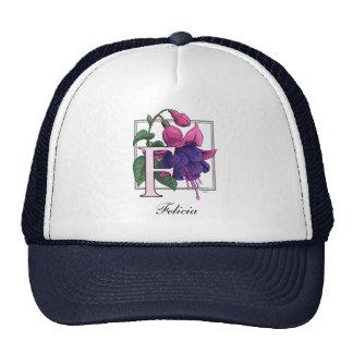 F for Fuchsia Flower Monogram Mesh Hats