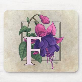 F for Fuchsia Flower Monogram Mousepad