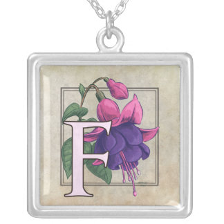 F for Fuchsia Flower Monogram Necklace