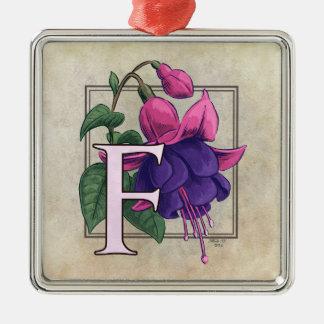F for Fuchsia Flower Monogram Christmas Tree Ornaments