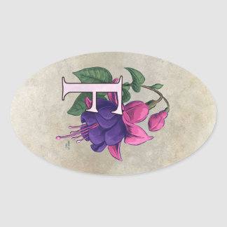 F for Fuchsia Flower Monogram Oval Sticker