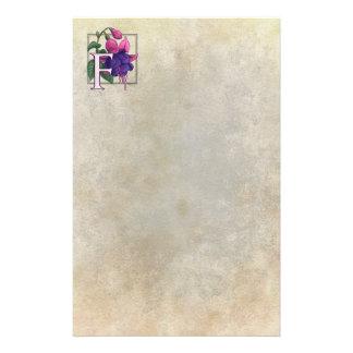 F for Fuchsia Flower Monogram Parchment Custom Stationery
