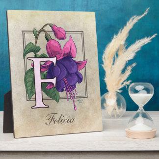 F for Fuchsia Flower Monogram Photo Plaque