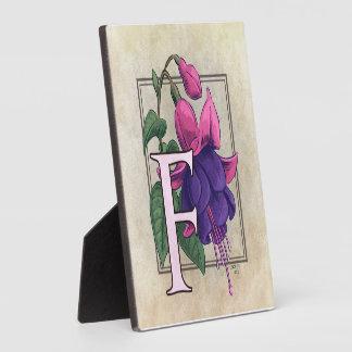 F for Fuchsia Flower Monogram Plaques
