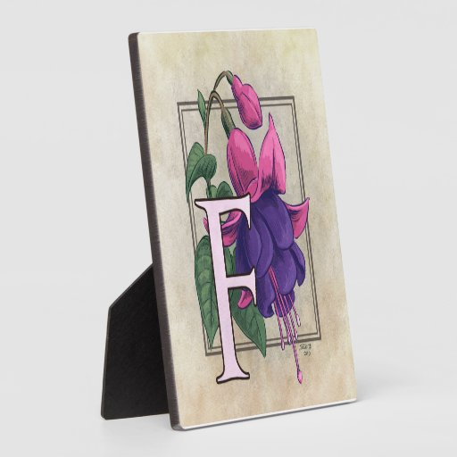 F for Fuchsia Flower Monogram Plaques