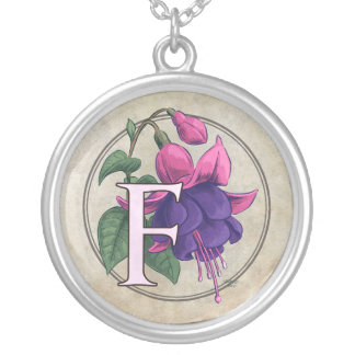 F for Fuchsia Flower Monogram Silver Plated Necklace
