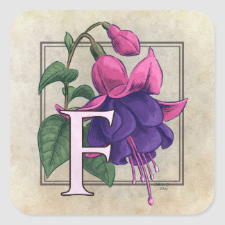 F for Fuchsia Flower Monogram Square Stickers