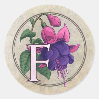 F for Fuchsia Flower Monogram Sticker