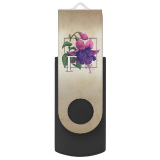 F for Fuchsia Flower Monogram USB Flash Drive