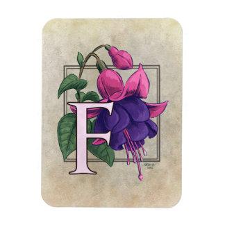 F for Fuchsia Flower Monogram Vinyl Magnets