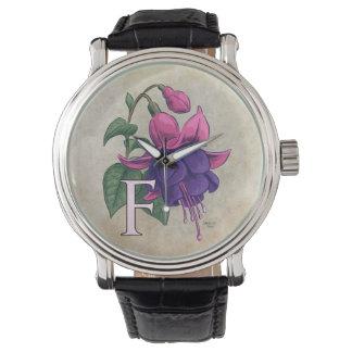 F for Fuchsia Flower Monogram Watch