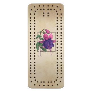 F for Fuchsia Personalized Monogram Cribbage Board