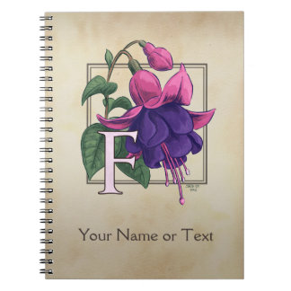 F for Fuchsia Personalized Monogram Spiral Notebook