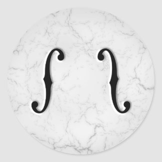 F-Holes Marble Classic Round Sticker