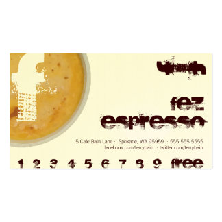 F - Initial Letter Foamy Coffee Cup Loyalty Punch Business Card
