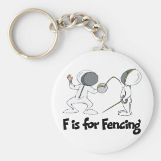 F is for Fencing Basic Round Button Keychain