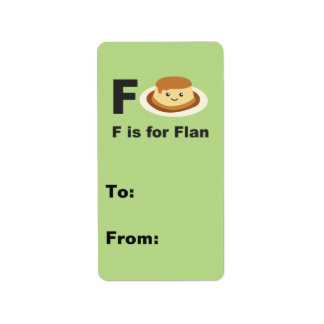 F is for Flan Label