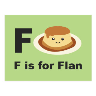 F is for Flan Postcard