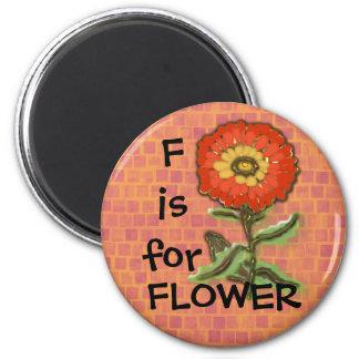 F is for FLOWER design Fridge Magnets