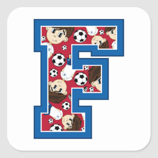 F is for Football Square Sticker