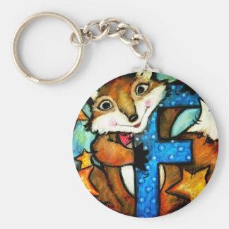 F is for Fox Basic Round Button Keychain
