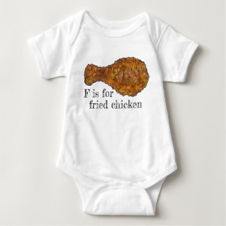 F is for Fried Chicken Leg Drumstick Alphabet Food Baby Bodysuit
