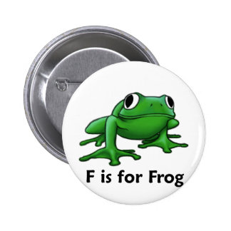 F is for Frog Pinback Button