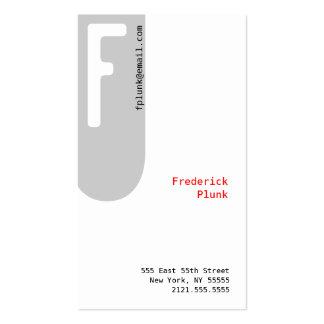 F Letter Alphabet Business Card Grey