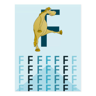 F Letter  Light blue card Flexible pony bunting. Postcard