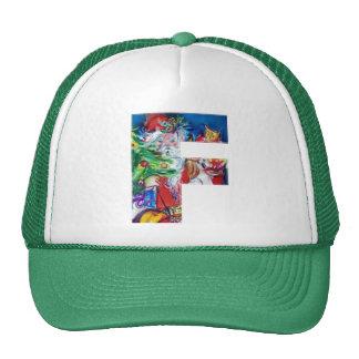 F LETTER / SANTA WITH CHRISTMAS TREE MONOGRAM TRUCKER HAT