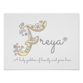 F monogram art Freya girls name meaning poster