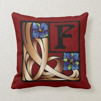 """""""F"""" Monogram Art Nouveau Square Pillow #1"""