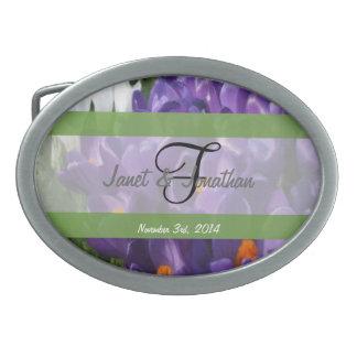 F Monogram Crocus Flowers Painterly Oval Belt Buckle