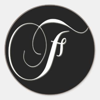 F monogram - elegant black and white classic round sticker