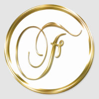 F Monogram Faux Gold Envelope Or Favor Seal
