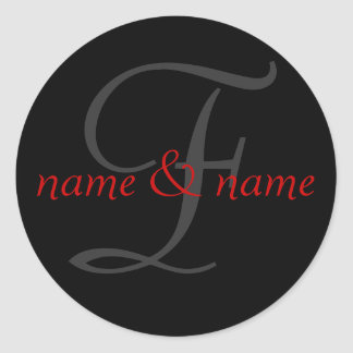 F monogram label classic round sticker