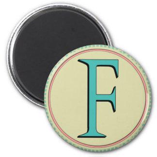 F MONOGRAM LETTER 2 INCH ROUND MAGNET