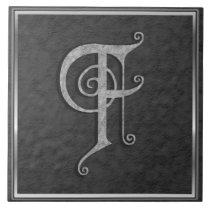 """F Monogram """"Medieval Grey Stone"""" Ceramic Tile"""