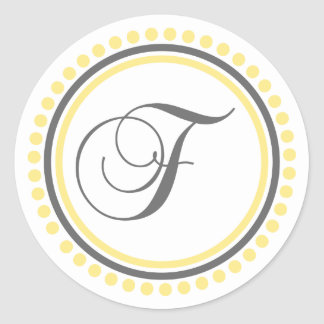 F Monogram (Yellow / Gray Dot Circle) Classic Round Sticker