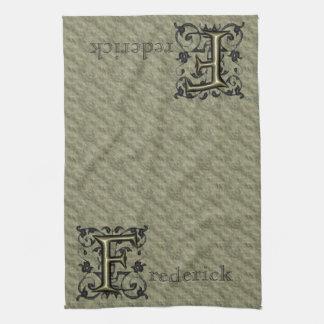 F - Monograma grabado en relieve del vintage (oro) Toallas