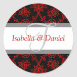 F Monograms For Wedding Invitation Seals Round Sticker