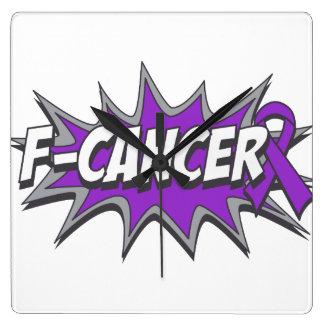 F-Pancreatic Cancer Square Wall Clock