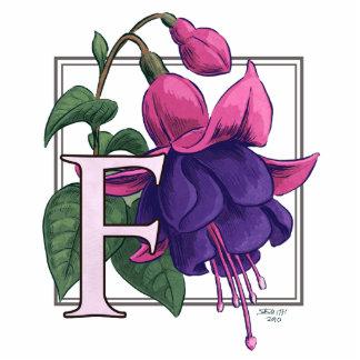 F para el monograma fucsia de la flor fotoescultura vertical